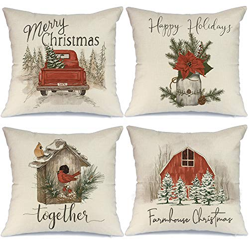 AENEY Christmas Pillow Covers 18x18 Set of 4, Red Barn Truck Bird Rustic Winter Holiday Throw Pillows Farmhouse Christmas Decor for Home, Xmas Decorations Cushion Cases for Couch A307-18