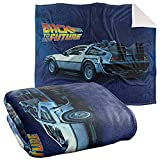 Back to The Future Blanket, 50'x60', Delorean Silky Touch Sherpa Back Super Soft Throw Blanket