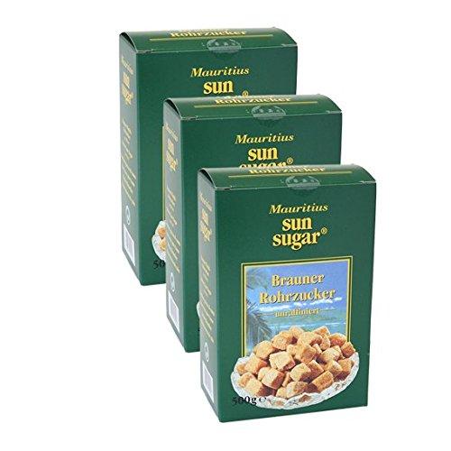 Mauritius Sun Sugar Brauner Würfel-Rohrzucker, 500g 3er Pack