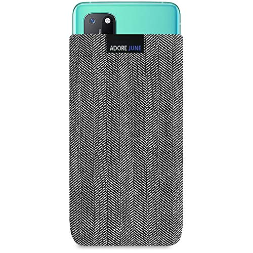 Adore June Business Tasche kompatibel mit OnePlus 8T Handytasche aus charakteristischem Fischgrat Stoff - Grau/Schwarz, Schutztasche Zubehör mit Bildschirm Reinigungs-Effekt