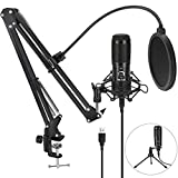 USB Microphone for Computer, Jelly Comb Podcast Microphone Kit with Arm & Tripod Stand, 192KHZ/24Bit Condenser Microphone for Podcasting, PC, Laptop, PS4, Studio/Home Recording, YouTube