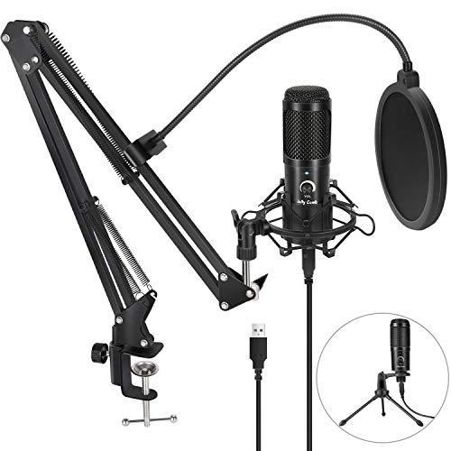 Jelly Comb Micrófono de Condensador USB Profesional 192KHZ/24Bit, Kit de Micrófono con Soporte de Brazo y trípode, Filtro Antipop para Grabación, Podcast, Transmisión en Vivo,Juegos Chat, YouTube