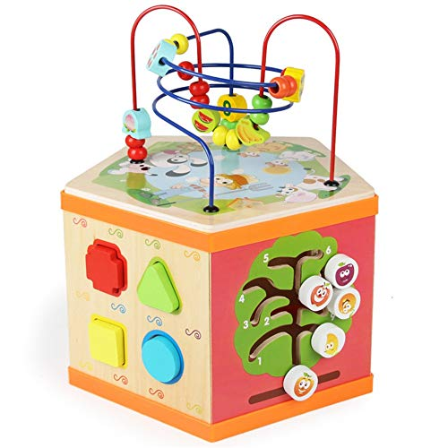 XMSIA Multifunction Bead Maze Early Learning Activity Cubes Toys, Large Multifunction Wooden Activity Cube Bead Maze Wooden Activity Cube Toys (Color : Multi-colored, Size : Free size)