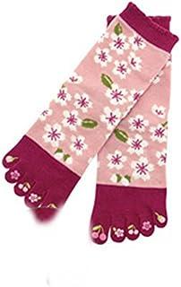 くろちく つま先プリント 5本指文化足袋 桜花 レディース 約23~25cm
