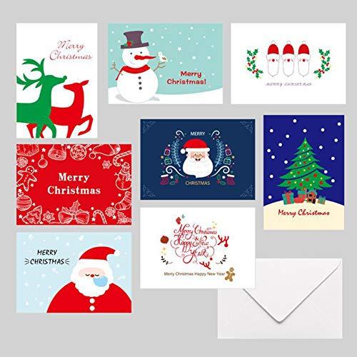Eastor Weihnachtskarten mit Umschlägen und Aufkleber (24er Set), Klappkarten Grußkarten Blanko, Weihnachtspostkarten für Weihnachtsgrüße an Familie, Freunde, Kunden, Frohe Weihnachten