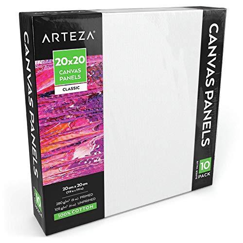 ARTEZA Paneles de lienzo para pintar cuadros | 20x20 cm | Pack de 10 | 100% algodón | Imprimación sin ácidos | Lienzos de pintura ideales para profesionales, aficionados y principiantes