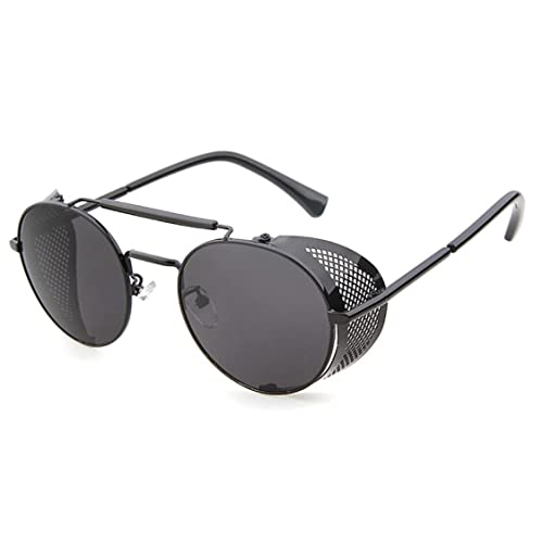 575b8f7c3c Flowertree STY056 Metal Frame Mesh Fold-in Side Shield Round 52mm Sunglasses