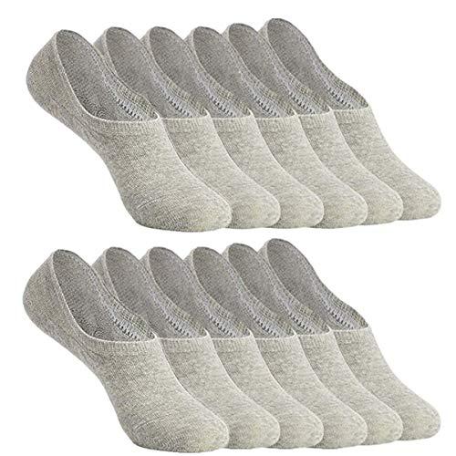 YouShow Füßlinge Damen Herren 12 Paar Sneaker Socken Ballerina Kurze Footies Unsichtbare Silikonpad Verhindert Verrutschen(12paar,Grau,39-42