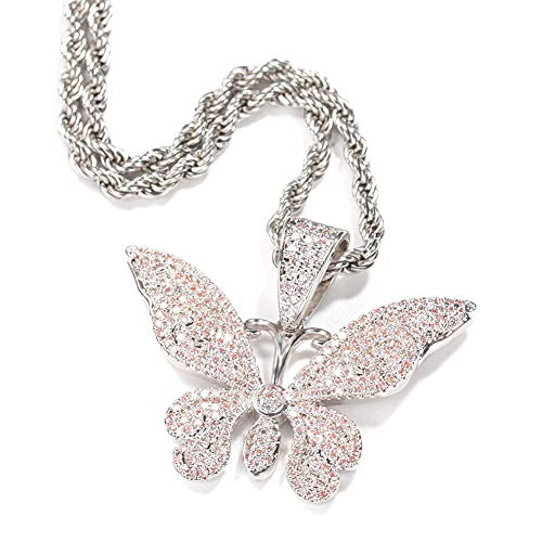 DFWY Collar de Hip Hop Colgante de Mariposa Helada para Mujeres Hombres, Bling Full Rhinestone Lab Diamond Crystal 3D Animal Amuleto, Moda Vintage Punk Syle Charm Jewelry (Color : Silver)