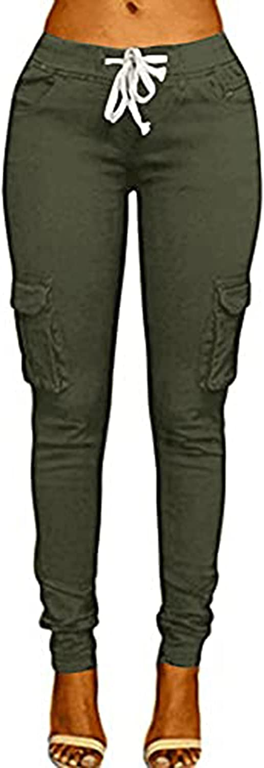 Women's Solid Color Drawstring Skinny Pants Multi Pocket Stretch Cargo Pant Ladies Slim Elastic Waist Casual Trousers (Small,Army Green)