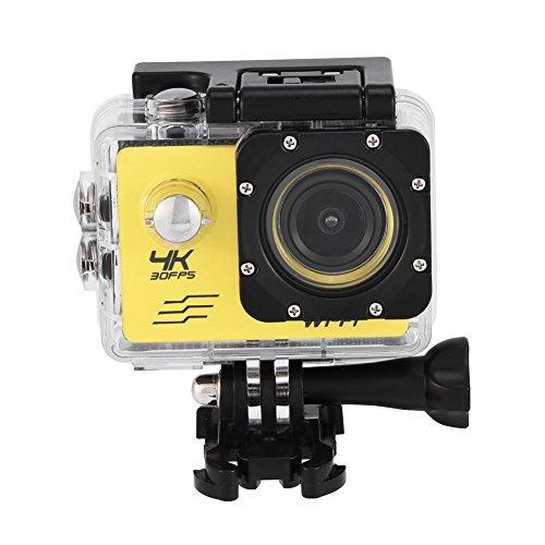 Cocoarm Action Cam Sportkamera Actionkameras 4K Outdoor WiFi Wasserdicht Sport 1080P High Definition Kamera DV Camcorder (Gelb)