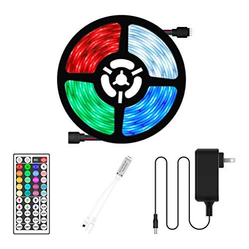 Sttoce Cinta LED de 5M, Luz LED que cambia de color, Cadena de luces regulables RGB con control remoto de 44 teclas, Cinta autoadhesiva, Luz LED decorativa multicolor, LED para dormitorio