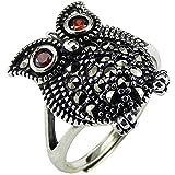 CHXISHOP Anillo de plata de ley 925 con incrustaciones de tungsteno y oro piedra búho estilo étnico apertura ajustable anillo de dedo índice exagerado
