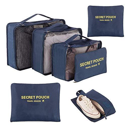 Newdora Kleidertaschen Set, 7 unterschiedliche Größen zur Organisation Ihres Reisegepäcks, Schwarzblau