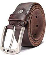 Men's 100% Italian Cow Leather Belt Men With Anti-Scratch Buckle,Packed in a Box (1001-brown, 105CM (waistline:32''-35''))