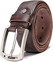 Men's 100% Italian Cow Leather Belt Men With Anti-Scratch Buckle,Packed in a Box (1001-brown, 115cm (Pant Size:34-38))