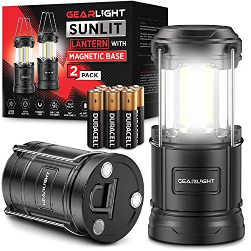 GearLight LED Camping Lantern Sunlit (2 Pack) - Battery Powered Lamp Lanterns for Emergency, Power Outages, Hurricane – Portable Camp Light,...