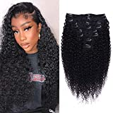 Curly Clip in Hair Extensions for Black Women 3C 4A Kinky Curly human Hair Clip in Hair Extensions Natural Black Color Full Head Brazilian Virgin Hair,8/Pcs with 18Clips,120 Gram (18inch, Curly hair)