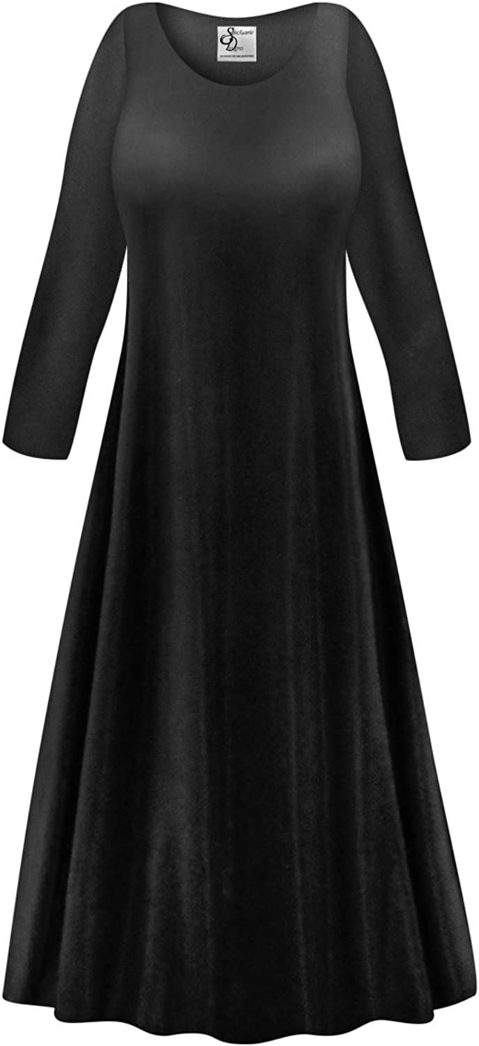 Sanctuarie Designs Solid Black Slinky Plus Size Supersize Long Sleeve ALine Maxi Dress