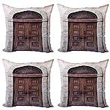ABAKUHAUS Rústico Set de 4 Fundas para Cojín, Arqueado Puerta Veneciana, Estampado Digital en Ambos Lados y Cremallera, 60 cm x 60 cm, Crema Brown