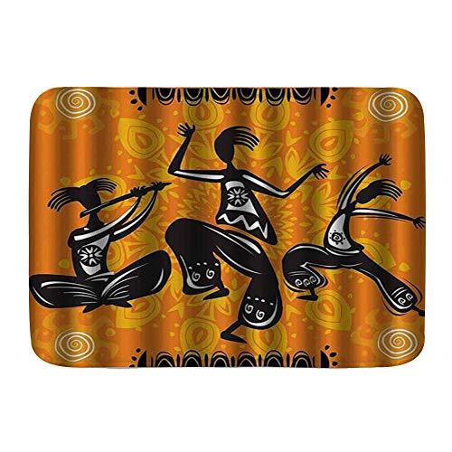 Amknu Alfombrillas para baño, Figuras de Bailarines africanos nativos con articulaciones de Cuerpo Total de Poli Ritmo,con Respaldo Antideslizante,29.5'X17.5'