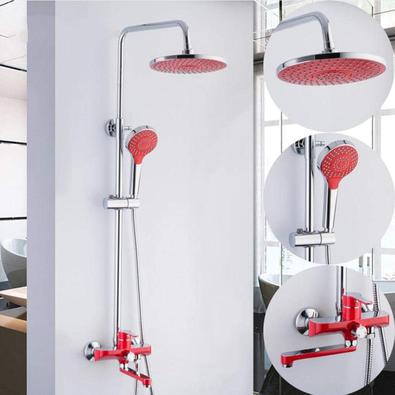 Gorheh Rot Bad Badewanne Duschset Messing Chrom Wandmontage Duscharmatur Wasserbad Duschsystem Wasserhahn