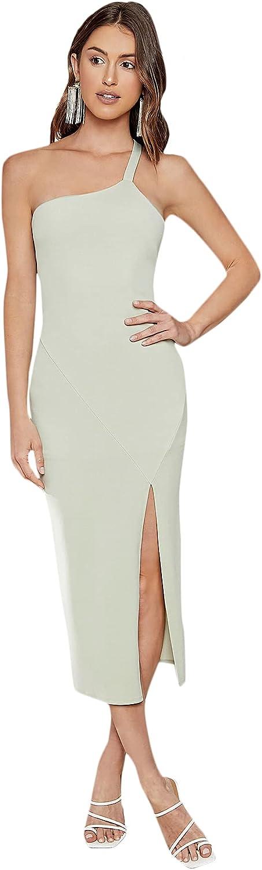 SheIn Women's Sleeveless One Shoulder Strappy Slit Hem Party Bodycon Midi Dress
