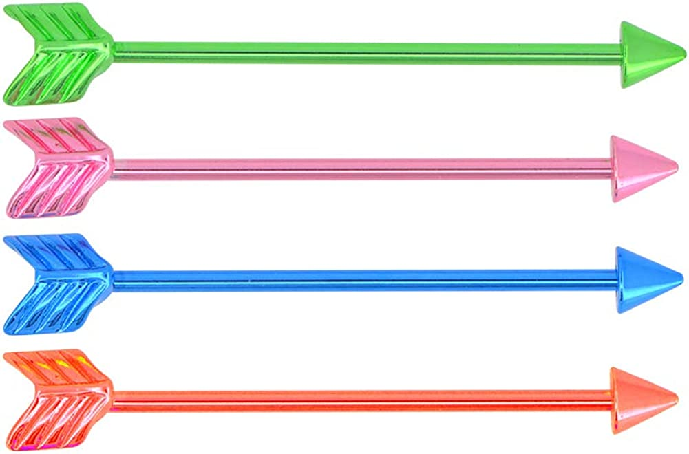 Assorted Sets of 14 Gauge 1 3/8 Inch(38mm) 316L Surgical Steel Industrial Barbell Belly Red Pink Blue Green
