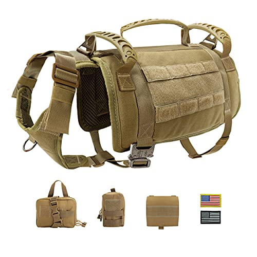 PET ARTIST Tactical Dog Harness with 3 Handles & 3 Leash Clips & 2 Metal Buckles, Military Working Dog Molle Vest with Pouches & Patches, No Pull Dog Training Harness for Medium Large Dogs,M