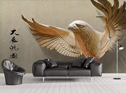 Papel Pintado 3D Mural Alas De Águila En Relieve Extendiendo Fotomural Decoración Papel Tapiz Dormitorio Sala Custom Mural Pared-350cmX250cm