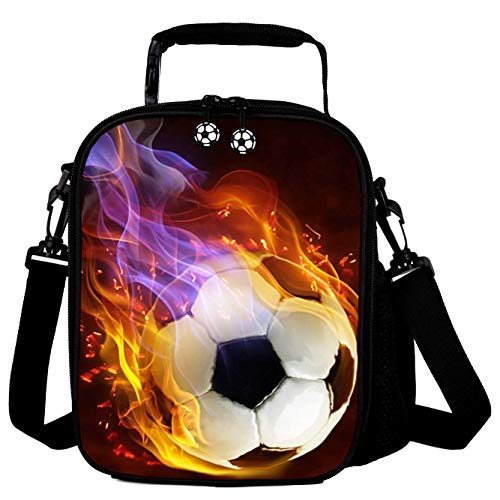 Lunch Tote, 2019 Upgrade Insulated Football Lunch Bag- Waterproof Reusable Lunch Box Portable Meal Bag Ice Pack for Kids Boys Girls