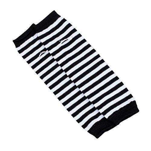 SODIAL(R) Mode Frauen Dame Maedchen dehnbar weichen Arm waermer Langarm-Halbhandschuhe - schwarz weisse Streifen