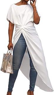 S-Fly Women Dresses Short Sleeve Split Mini Sexy Top Blouse T-Shirt