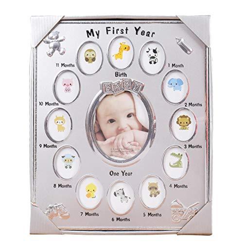 DASNTERED Marco de Fotos para el Primer año del bebé, 13 Ranuras, Regalo de cumpleaños, Escritorio, decoración del hogar, Marco de Fotos para mi Primer año, bebé recién Nacido