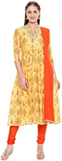 Haute Curry By Shoppers Stop Womens Mandarin Collar Printed Churidar Suit
