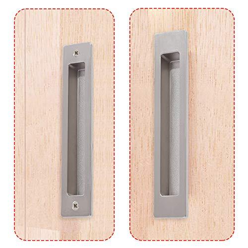 CCJH Maniglia Invisibile per Porta Scorrevole Maniglie ad Incasso per Porte Armadi in Legno in Acciaio Argento 18cm 1 Pzs