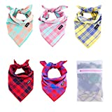 Gofshy Dog Bandanas-5PCS Puppy Bandanas Square Plaid Printing Adjustable Dog Scarf Dog Clothes Dog Accessories for Small to Large Dogs Cats Pets Dog Gifts (Bright)