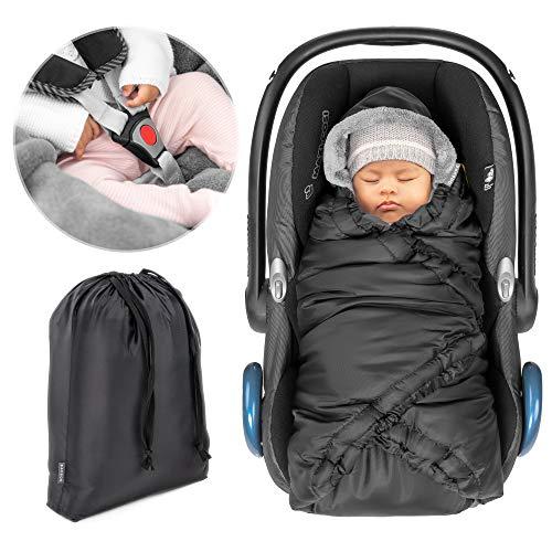Zamboo Einschlagdecke für Babyschale (z.B. Maxi Cosi, Cybex, Kiddy) - praktische Alternative zum Winter Fußsack, weiches und wattiertes Thermo Fleece - Schwarz
