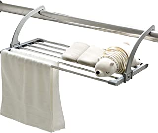 Secado colgante bastidor radiador Tendedero de ropa de toalla del acero inoxidable ropa plegables estante de secado de secador 6 pasamano bastidores para al aire libre o balcón,Grey