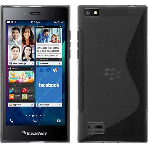 PhoneNatic Case kompatibel mit BlackBerry Leap - grau Silikon Hülle S-Style + 2 Schutzfolien