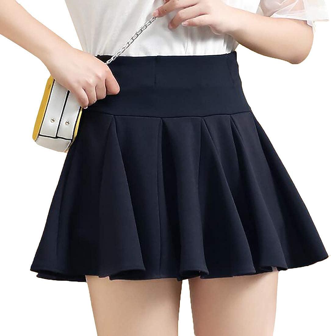 Aiweijia Casual Pleated Miniskirt High Waist Zipper Elasticity A-line Skirt