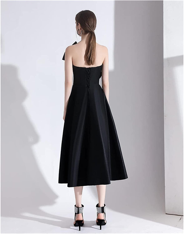 DPIOPTS Dresses Evening Party Black Dress Women Elegant French Tube Top Bow Vintage Black Dresses Elegant Cocktail Party (Color : Black, Size : XXX-Large)