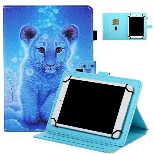 Universal Case for 7' Tablet, UGOcase Stand Folio Protective Case Cover for Galaxy Tab 3 Lite 7.0/Tab 4 7.0/ Tab E Lite 7.0/ Mediapad T3 7.0' and More 6.5'-7.5' Tablets - Blue Tiger