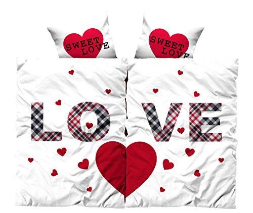 *Leonado Vicenti 4 teilige Bettwäsche Microfaser Partnerbettwäsche 135×200 cm Herz Love weiß rot mit Reißverschluss*