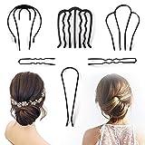 6PCS Messy Bun Hair Pin Clip, Metal Hair Barrettes, U Shaped Pins, Vintage Hair Style Spiral Simple Hair Braid Twist Styling Hair Accessories Clips