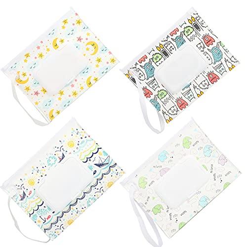 4 paquetes de dispensador portátil de toallitas húmedas para viajes, reutilizables y recargables, para viajes, cochecitos, mochilas (A)