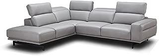 J&M Furniture Davenport Leather Left Facing Sectional Sofa in Light Grey