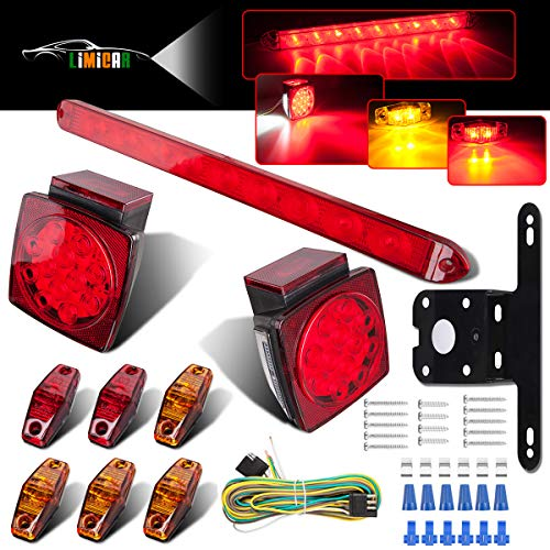LIMICAR LED Trailer Lights Kit 12V Waterproof Square Stop Turn Tail Truck Lights w/Wire & Bracket Red/Amber Side Fender Marker Lamps 3rd Brake ID Light Bar for Trailer Camper Snowmobile RV