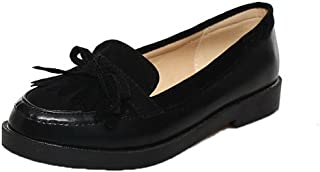 VogueZone009 Women's PU Pull-On Round-Toe Low-Heels Solid Pumps-Shoes