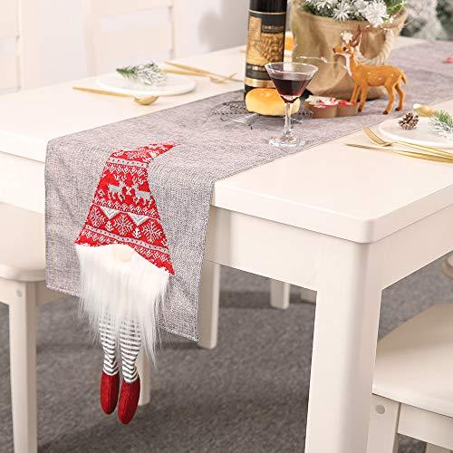 Dricar Weihnachten Tischläufer, Weihnachten Leinen Lange Tischdecke für Esszimmer Küche Dekor mit Weihnachten Wichtel Deko Figuren(Tischläufer 33x180 cm)